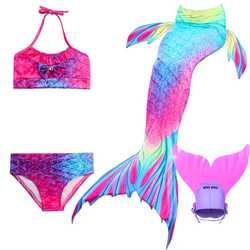 Хвост русалки для Одежда заплыва обувь девочек бикини купальник косплэй дети Swimmalbe хвост русалки платье принцессы костюм и