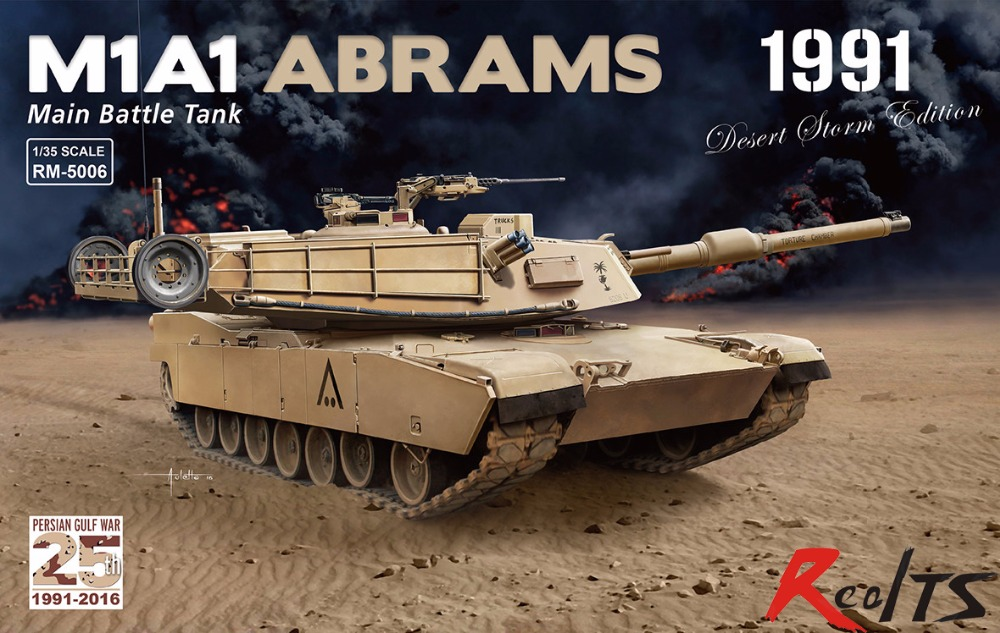 RealTS RMF 1/35 RM-5006 M1A1 ABRAMS Main battle tank 1991 model kit цена