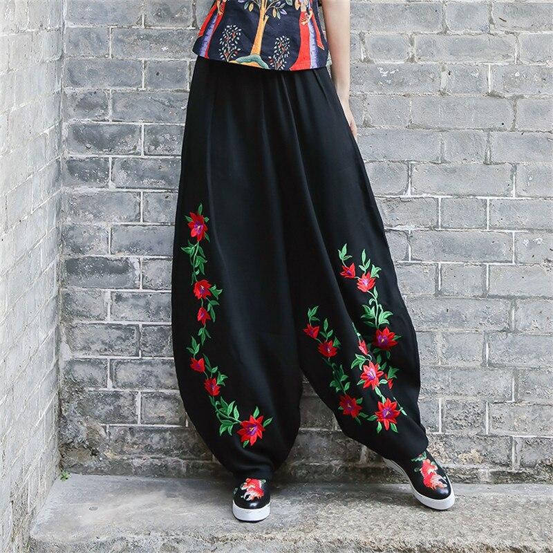 Big Size 2019 Women New Fashion Embroidery Cotton Linen   Pants  ,Streetwear Vintage Plus Size black   Wide     Leg     Pants   Lady Trousers