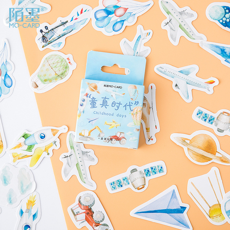 46 Pcs/pack Childlike Age Plane Bullet Journal Decorative Stickers Scrapbooking Stick Label Diary Stationery Album Stickers