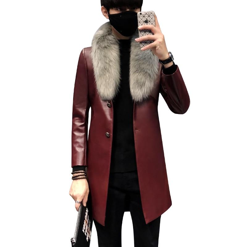 Jacken & Mäntel 2019 Neue Winter Blazer Pelz Kragen Langen Abschnitt Männer Pelzmantel Männer Business Casual Leder Jacke Fleece Warme Dicke Mantel Xxxl