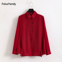 Letter Embroidery Women Shirts Red Black Casual Plus Size 3 4 XL Lace Up Long Sleeve