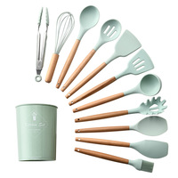 9Pcs Cooking Tools Kit Household Silicone Wooden Cooking Utensil Kitchen Accessories Set Handle Spoon Spatula Ladle Egg Beaters