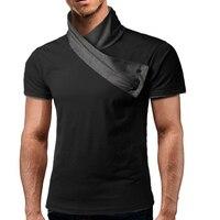 Male 2017 Brand Short Sleeve Splicing Hit Color Button Decoration T Shirt Slim Men T Shirt