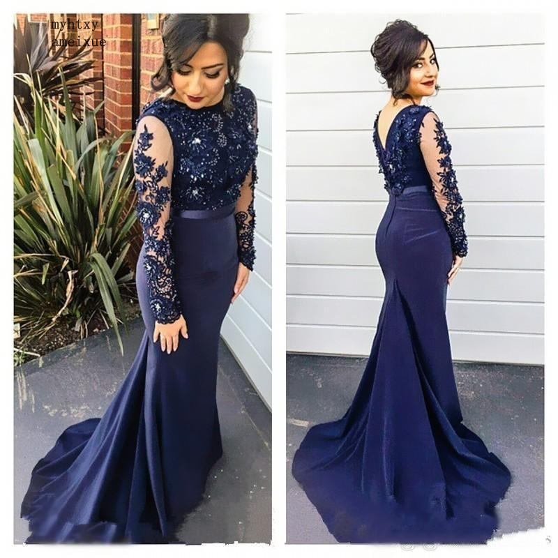 Navy Blue High Neck Lace Mermaid Party Gowns 2019 Long Sleeves Appliqued Party Gowns Cheap Evening Dresses Long Prom Dreses(China)