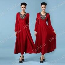 057 Hot sale ladies round neck muslim font b abaya b font long sleeve font b