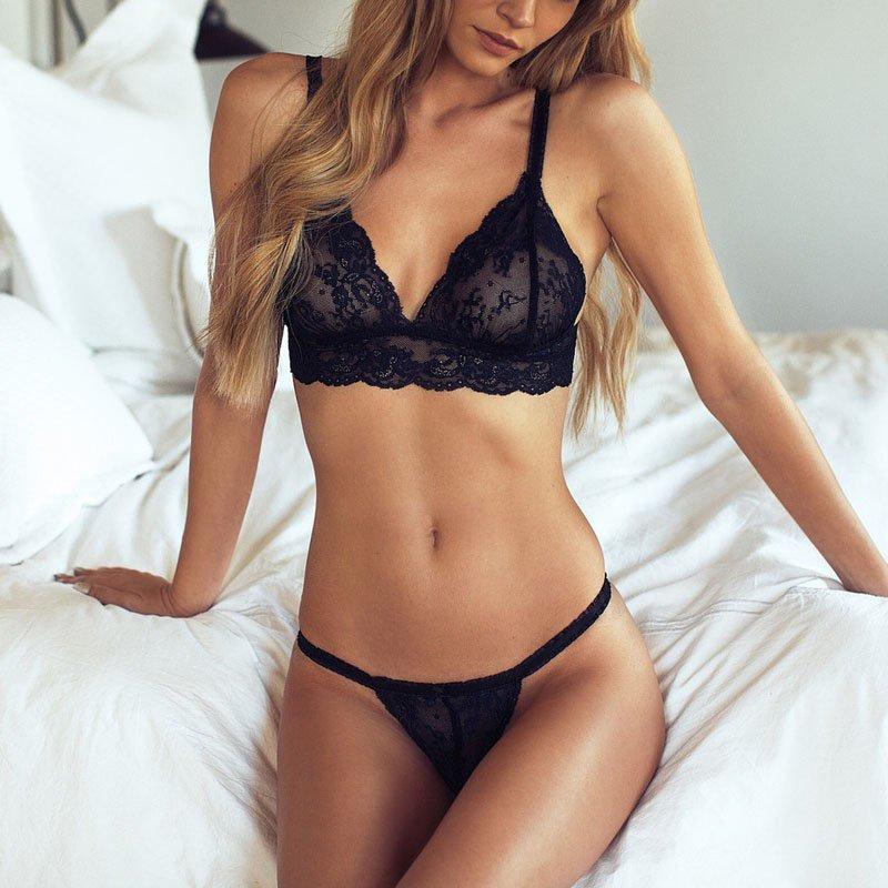Black Noir Lace 2 PCS Sexy Women Unpadded Intimates Tops + Underpants Wire Free Floral Lace Bra Sets Underwear Transparent Bras