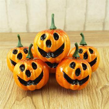 6 sztuk sztuczna dynia z pianki symulowane śliczne Mini dyni festiwal Halloween Party ogród wystrój stołu Ornament Craft zdjęcie Prop tanie i dobre opinie Poliester