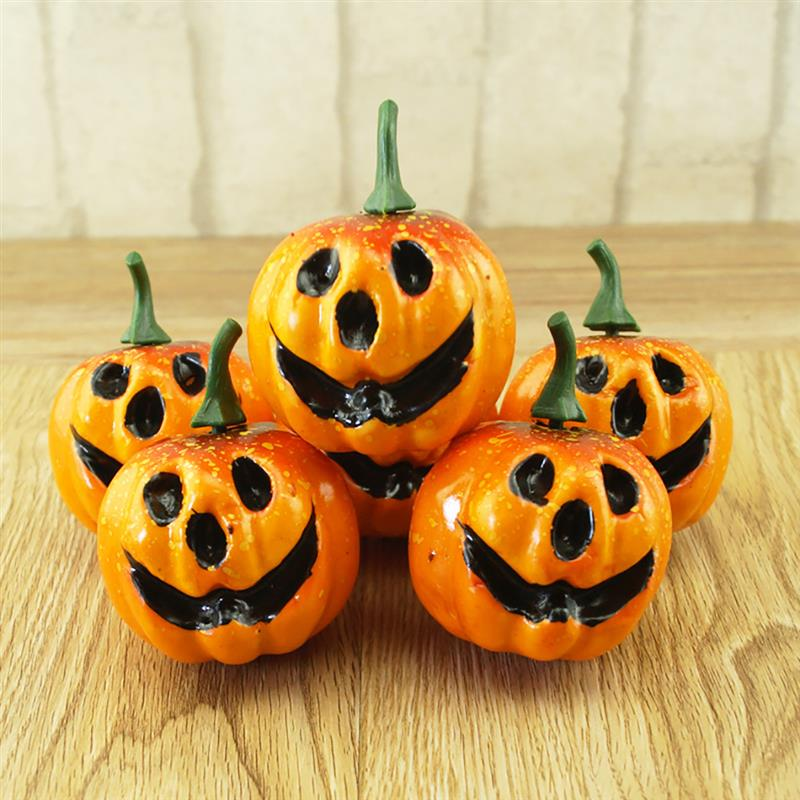 6pcs Artificial Pumpkin Foam Simulated Cute Mini Pumpkin Festival Halloween Party Garden Table Decor Ornament Craft Photo Prop