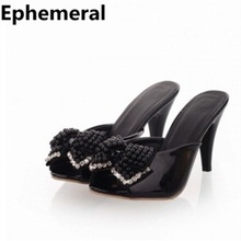 Lady sexy peep toe bow sexy thin high-heeled shoes women's slippers plus size(4 to 12) slides ladies and girls sandals