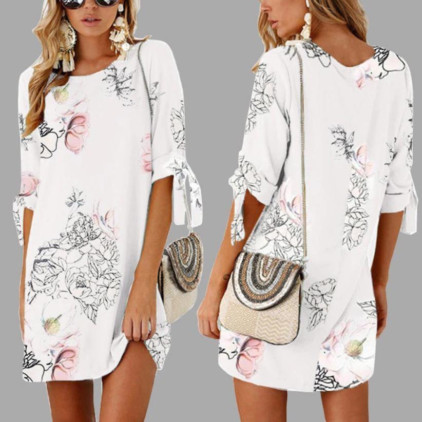 KANCOOLD Dress Women Summer Half Sleeve Bow Bandage Dresses Floral Striaght Casual Short Mini Dress Women 2018jul19