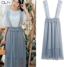 Womens dress bud silk yarn OLN new Korean version of the big swing strap