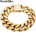 Trendsmax 19mm smooth cut curb cubana mens boys cadena del oro del acero inoxidable 316l pulsera 7-11 pulgadas joyería al por mayor hb140