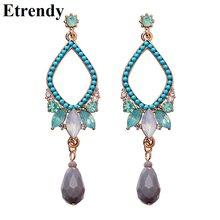 Bohemian Handmade Water Drop Long Earrings For Women Green Resin Vintage Drop  Earring 2018 Wedding Party Jewelry Dress Accessory 54159c9a3156