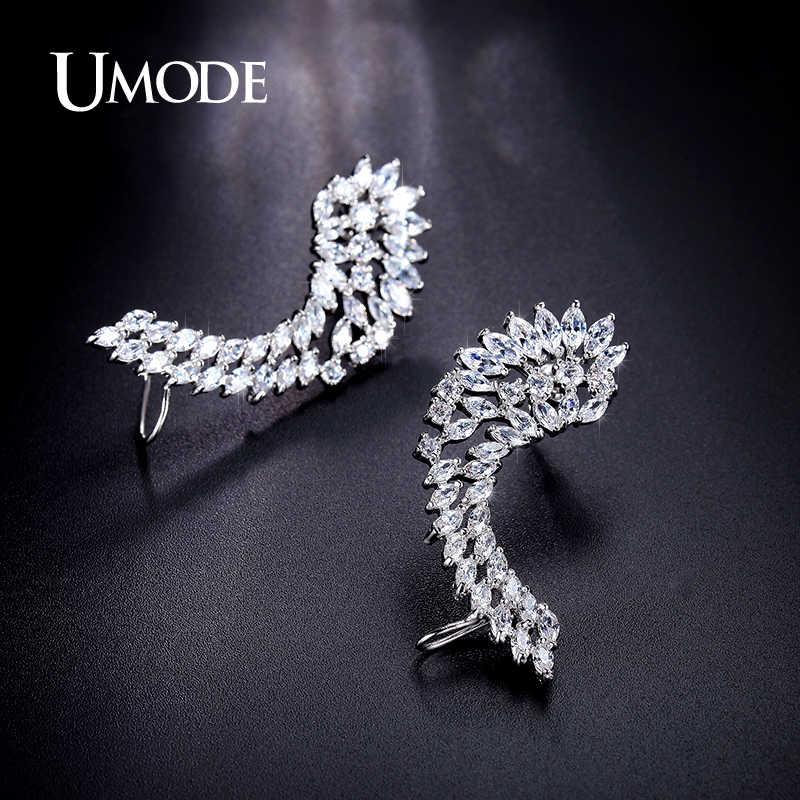 UMODE チャームの女性のスタッドのイヤリングジュエリートレンディな天使の羽の羽のイヤリング Cz ストーン耳カフジュエリー Brincos Aros UE0214