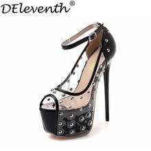 2016 Europe Rivets Peep Toe 7cm High Platfprm Buckle Strap Soft Leather Tansparent Shoes Women Beautiful High Heels Nightclub