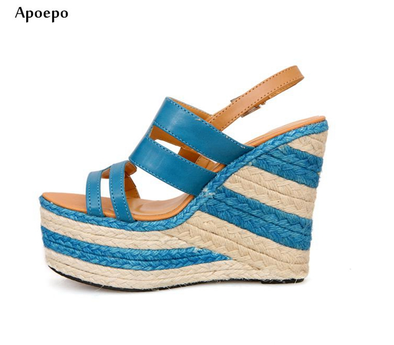 Apopeo 2018 Summer Fashion Rope Braided platform Sandalf or Woman Sexy Open Toe Cutouts Wedge Shoes Rome Style Gladiator Sandal 2017 summer woman slipper white pearls beaded flat shoes sexy open toe cutouts gladiator sandal outside beach shoes flats