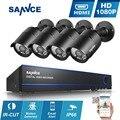 SANNCE 4CH 1080 P Системы ВИДЕОНАБЛЮДЕНИЯ H.264 HDMI 2400TVL AHD-H АХД DVR 4 ШТ. 1920*1080 P 2.0MP Открытый Камеры Видеонаблюдения Комплекты