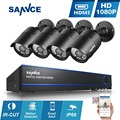 SANNCE 4CH 1080 P H.264 Sistema de CFTV HDMI 2400TVL AHD-H AHD DVR 4 PCS 1920*1080 p 2.0MP Exterior Kits de Câmera de segurança de Vigilância