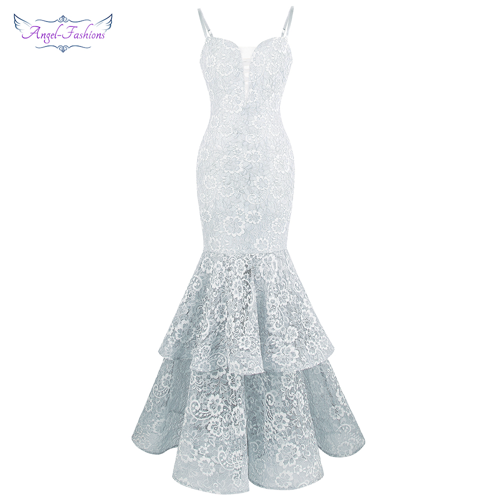 Angel fashions Women s Lace Prom Dress Spaghetti Strap Tiered Ball Gown Light Gray 417
