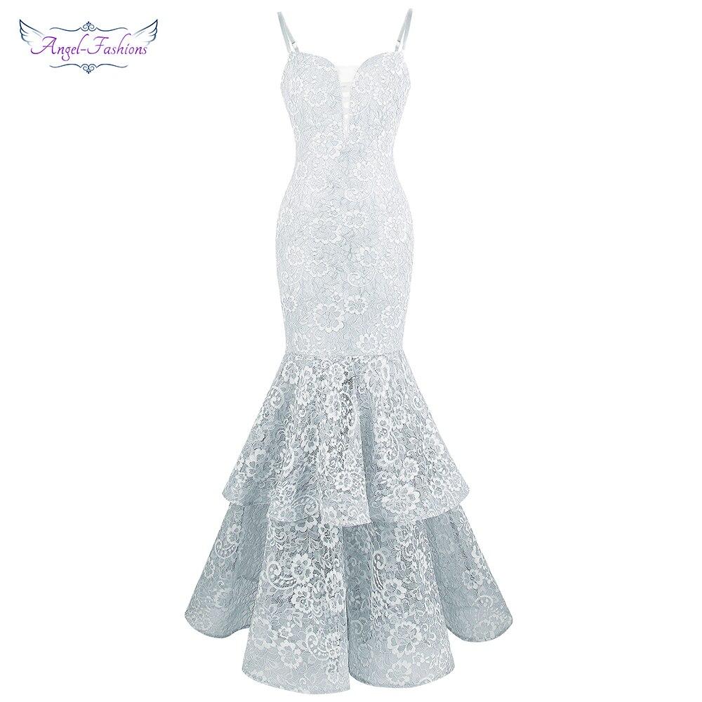 Angel-Fashion женское кружевное платье для выпускного вечера с бретельками Многоуровневое бальное платье светло-серое 417