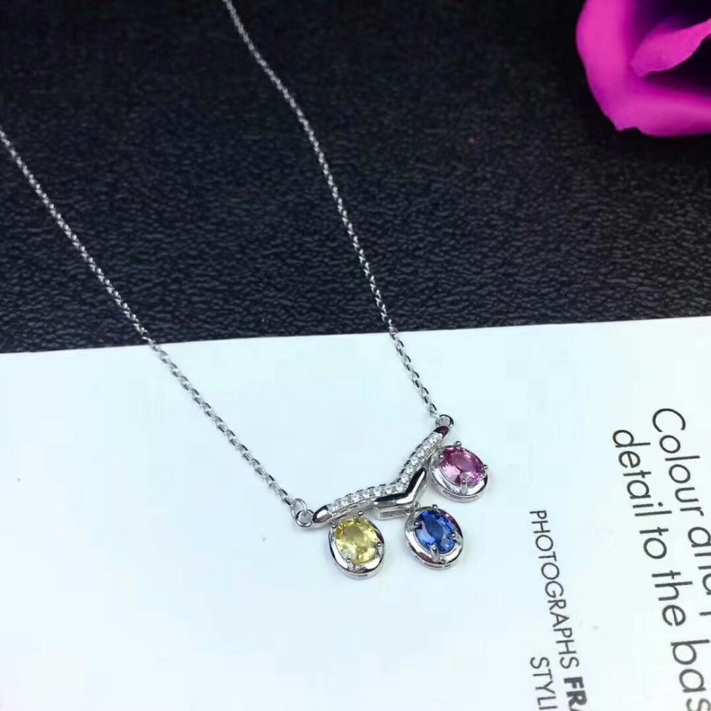 shilovem 925 silver sterling real Natural sapphire pendants send necklace fine Jewelry trendy new Christmas gift dlp0405agl in Pendants from Jewelry Accessories