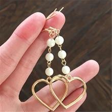 ФОТО lovely girl heart lovely hair bulb pearl earring no ear pierced ear women adorn article popular fur ball soft