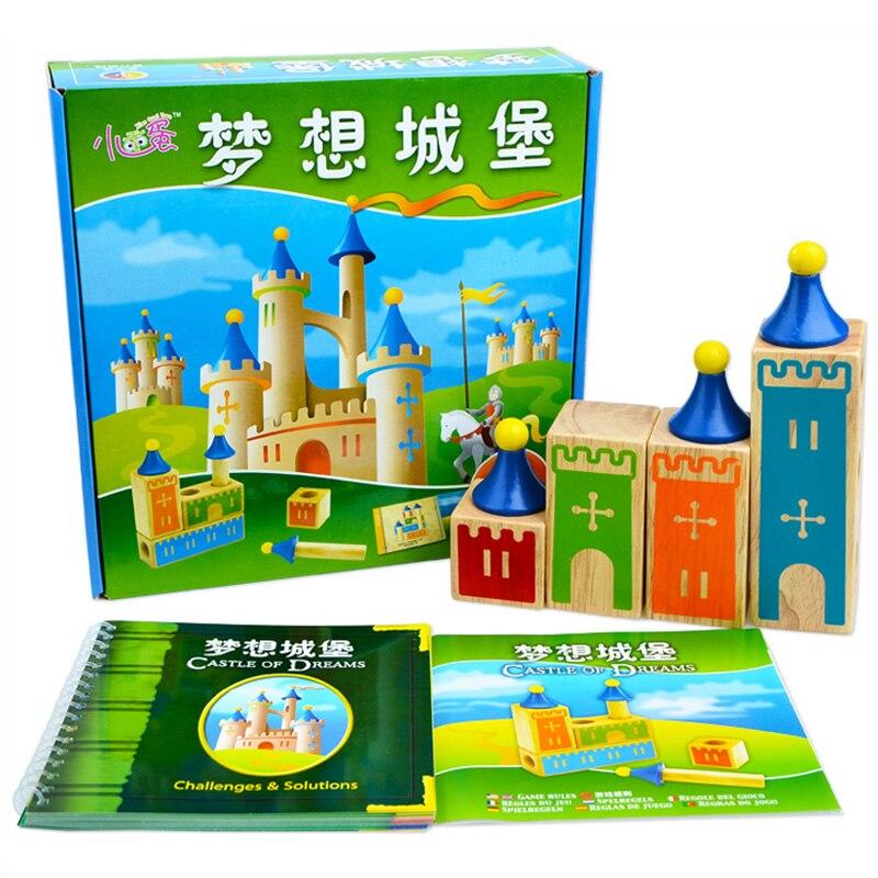 Candice guo! Jouet éducatif en bois château de rêve blocs début d'apprentissage Intellect jeu de défi enfants anniversaire cadeau de noël