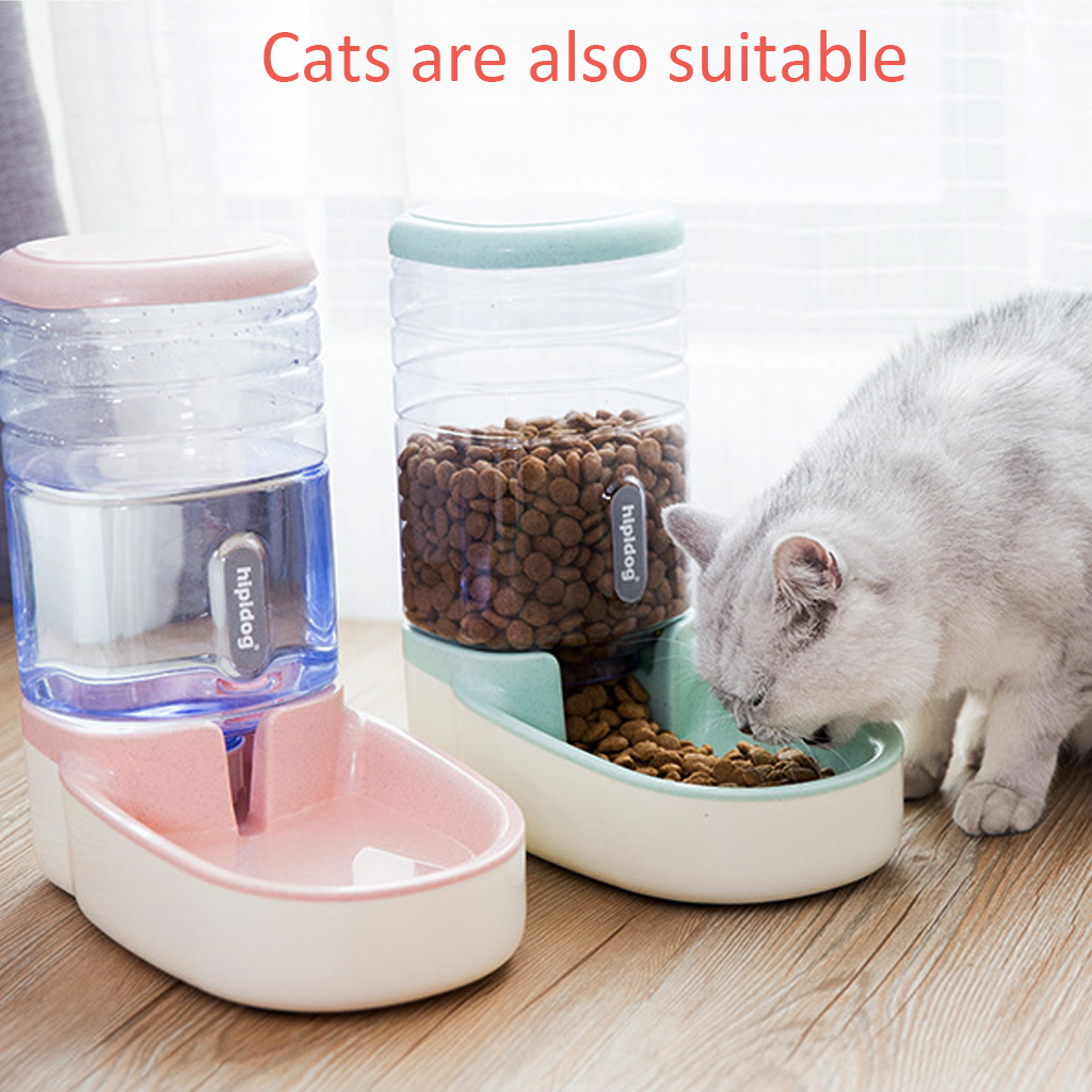 Large Capacity Pet Automatic Feeders For Cat Dog Feeding Bowls Food Water Dispenser Fountain Bottle Anti-Slip Pet Bowl 3.8L