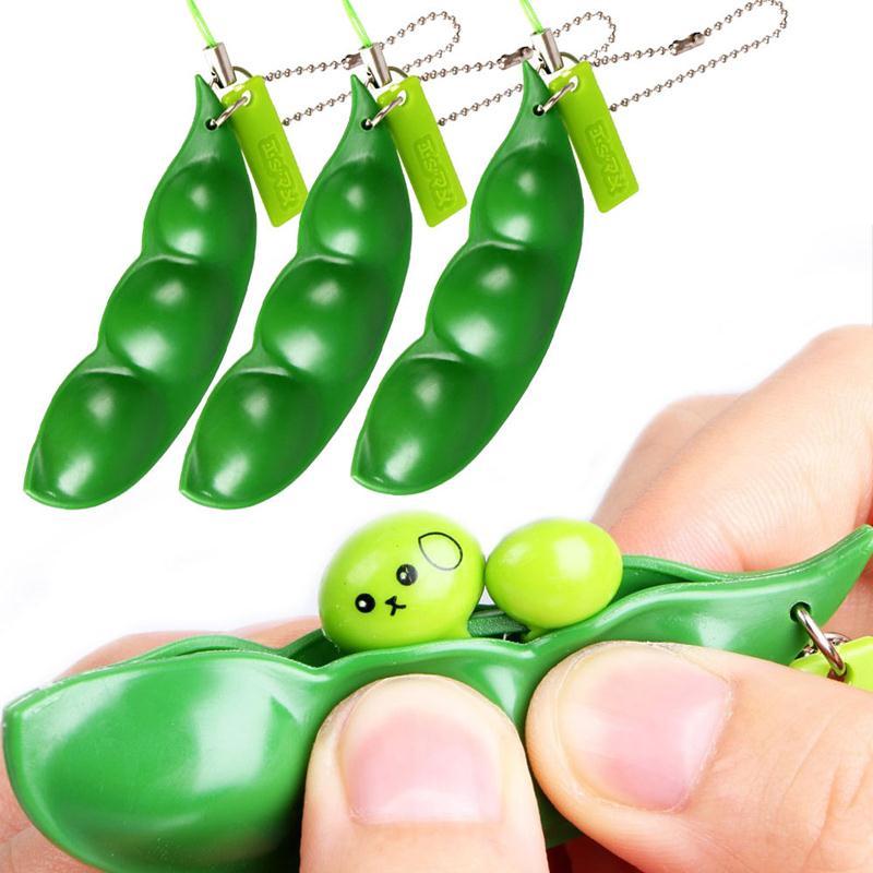 Cute Extrusion Bean Soybean Edamame Stress Relieve Toy Keychain Keyring Anti Stress Toy