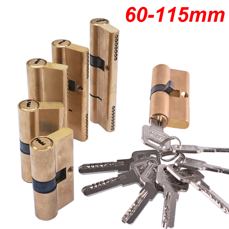 Cylinder AB Key Anti-Theft Lock 65 70 80 90 115mm Cylinder Biased Lock  Entrance Brass Door Lock Lengthened Core Extended Keys