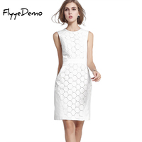 S XXL 2016 Autumn Summer New Elegant Runway Design Women Flower Daisy Lace White Slim Bodycon