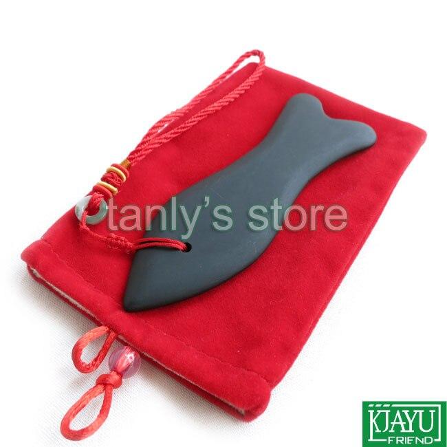 Gift bag & chart! Wholesale & Retail Traditional Acupuncture Massage Tool big Fish Guasha Board Natural black bian stone