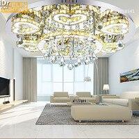 מרחוק עגול מודרני LED קריסטל מנורת קריסטל סלון אורות תקרה עם אווירת מינימליסטי מפנק-בתאורת תקרה מתוך פנסים ותאורה באתר