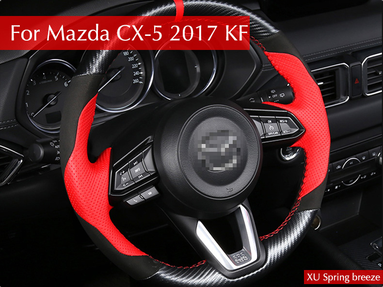 For Mazda CX-5 CX5 2017 2018 KF Refit Car Steering Wheel Cover Sticker Decoration Modification Car S for mazda cx 5 cx5 2017 2018 kf lhd car floor foot mat pat waterproof dustproof interior decoration car styling