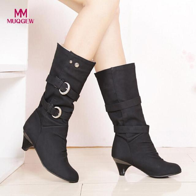 2018 New Shoes Women High Boots Autumn Winter Round Head Anti Slip Belt Buckle Cup Middle Tube Comfortale Female Casual Botas