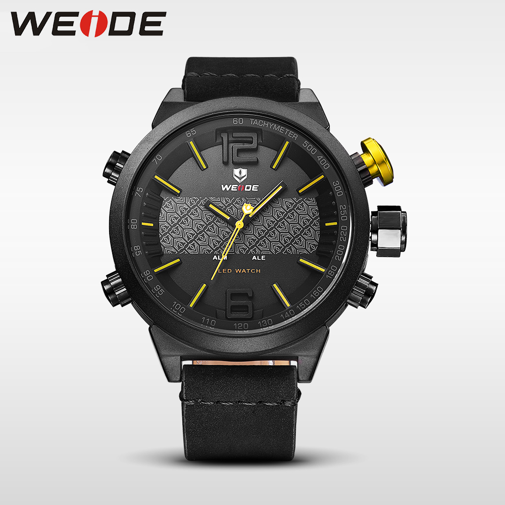 Weide Brand Luxury watch Men Sports leather Watches LED Digital Quartz Wrist Watches business analog men watch water resistant alike ak1391 sports 50m water resistant quartz digital wrist watch black orange