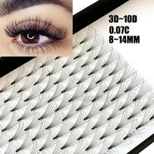 12 линий 3D~ 10D русские готовые объемные веера ресницы для наращивания C Curl 0,07 толщина термоскрепленные ресницы инструменты для макияжа