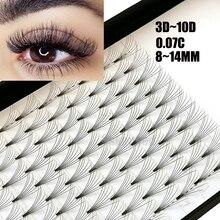 12 линий 3D ~ 10D, русские готовые объемные вееры для наращивания ресниц, C изгиб, толщина 0,07, термоскрепленные ресницы, инструменты для макияжа
