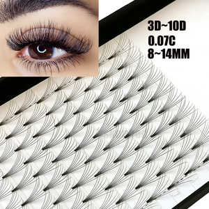 Image 1 - 12 Lines 3D~10D Russian Premade Volume Fans Eyelashes Extension C Curl 0.07 Thickness Heat Bonded Eyelashes Makeup Tools