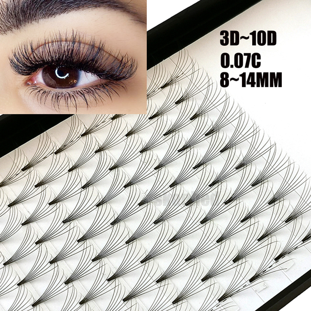 12 Lines 3D~10D Russian Premade Volume Fans Eyelashes Extension C Curl 0.07 Thickness Heat Bonded Eyelashes Makeup Tools