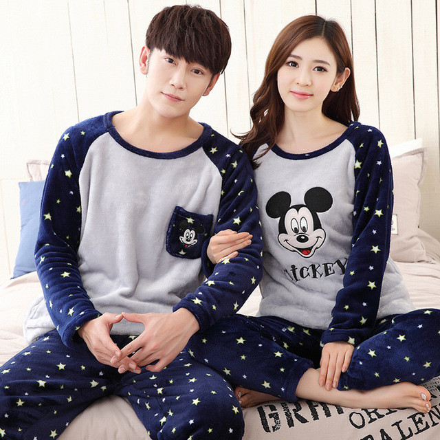 f7b362743 Couples Matching Pajamas Men and Women Family Matching Pyjamas Winter Coral  Fleece Girlfriends Clothes Female Thickened Flannel