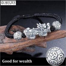Ручной работы 999 серебряный браслет pixiu 3d Серебро Богатство