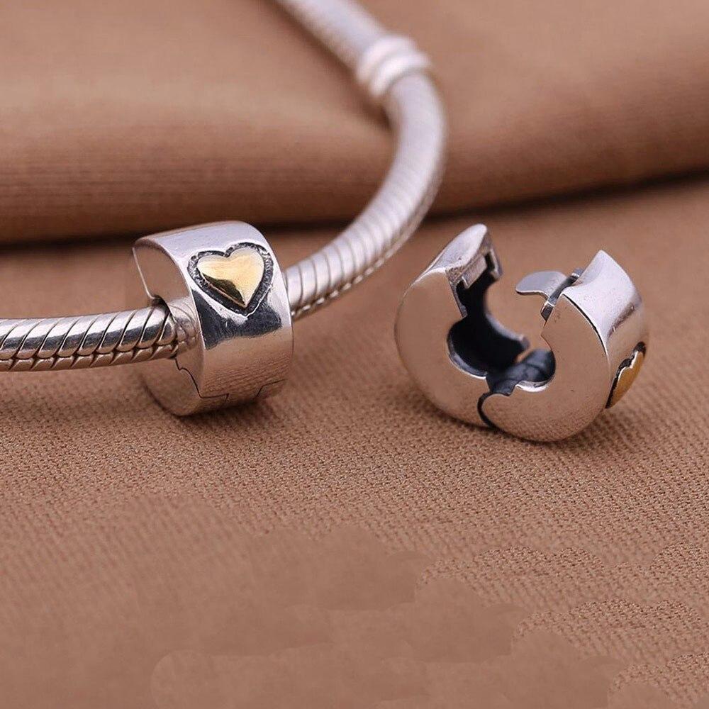 Prix pour 925 En Argent Sterling européenne bouchon charme or coeur Serrure Clip original Convient pandora Charms Bracelets diy