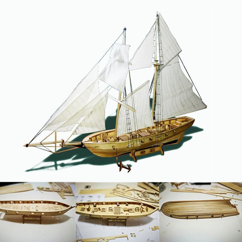 1:100 Scale Assembling Wooden Sailboat DIY Ship Model Home Decoration Boat Children Toy Gift Assembled Wooden Kit