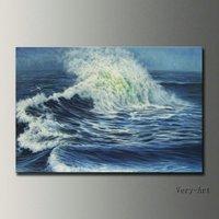 Handmade seascape ondas do mar pintura a óleo da paisagem na arte da parede da lona imagem para a decoração home presente original frete grátis