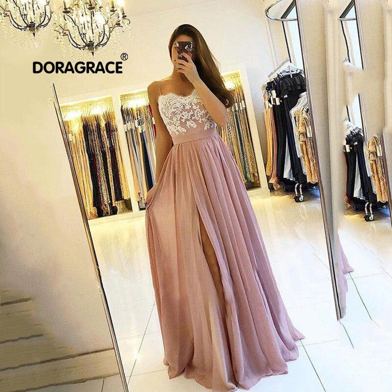 Doragrace robe de soiree Simple Elegant Chiffon Lace Long Prom   Dress   Plus Size   Evening     Dresses