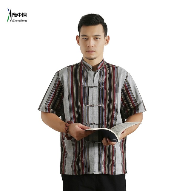 16dab6d207 Short Sleeve Cotton Traditional Chinese Clothes Tang Suit Top Men Kung Fu  Tai Chi Uniform Fall Autumn Shirt Blouse Coat for Men