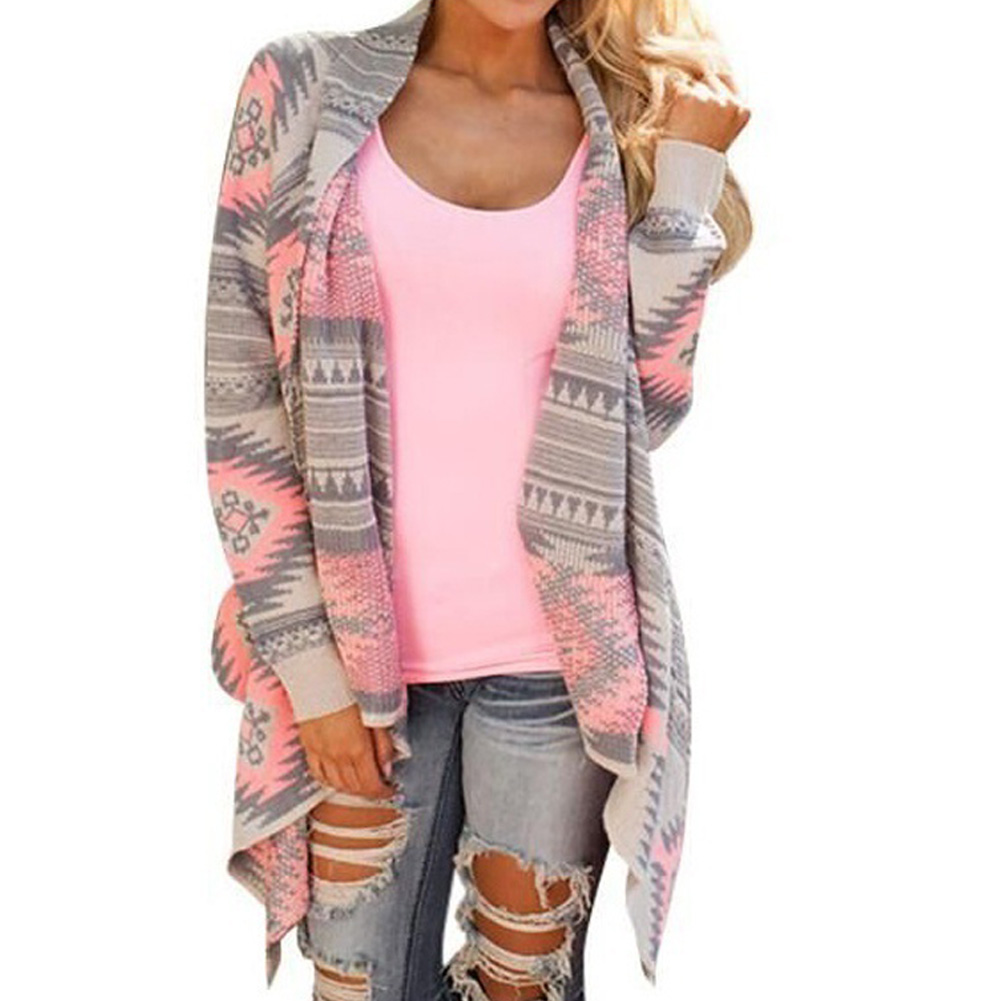 Fashion Winter Sweaters For Women Irregular Floral Print Loose Knitted Cardigan Ladies Coat Streetwear Punk Coat  LB