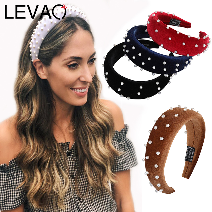 LEVAO Fashion Western Style Solid Colors Pearl Thicken Padded Hairbands Bezel Turban Women Headbands Girls Accessories   Headwear